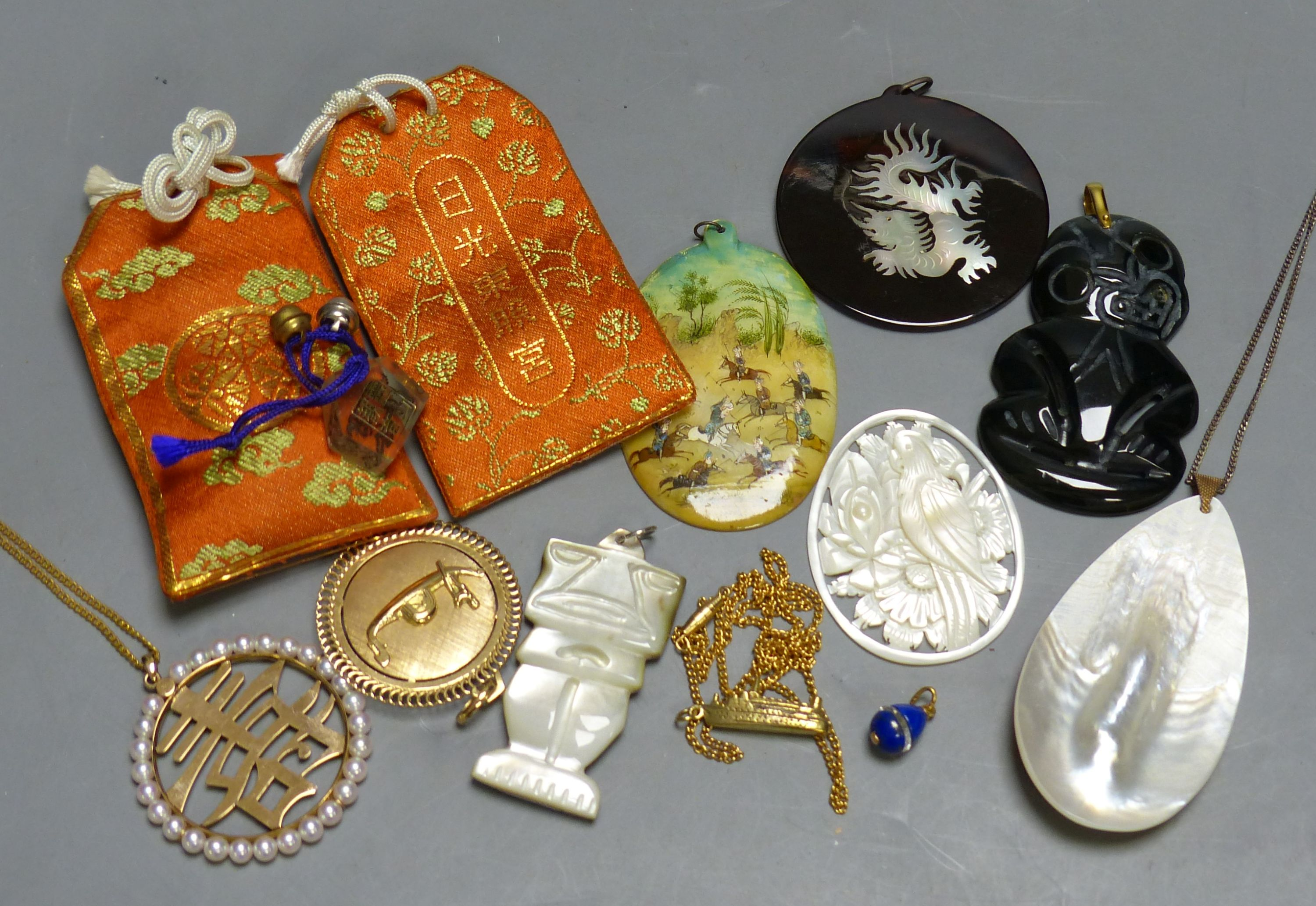 Miscellaneous decorative items, including a Mughal oval miniature on mother of pearl of polo