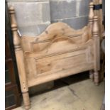 A Victorian style pine single bed frame, width 104cm
