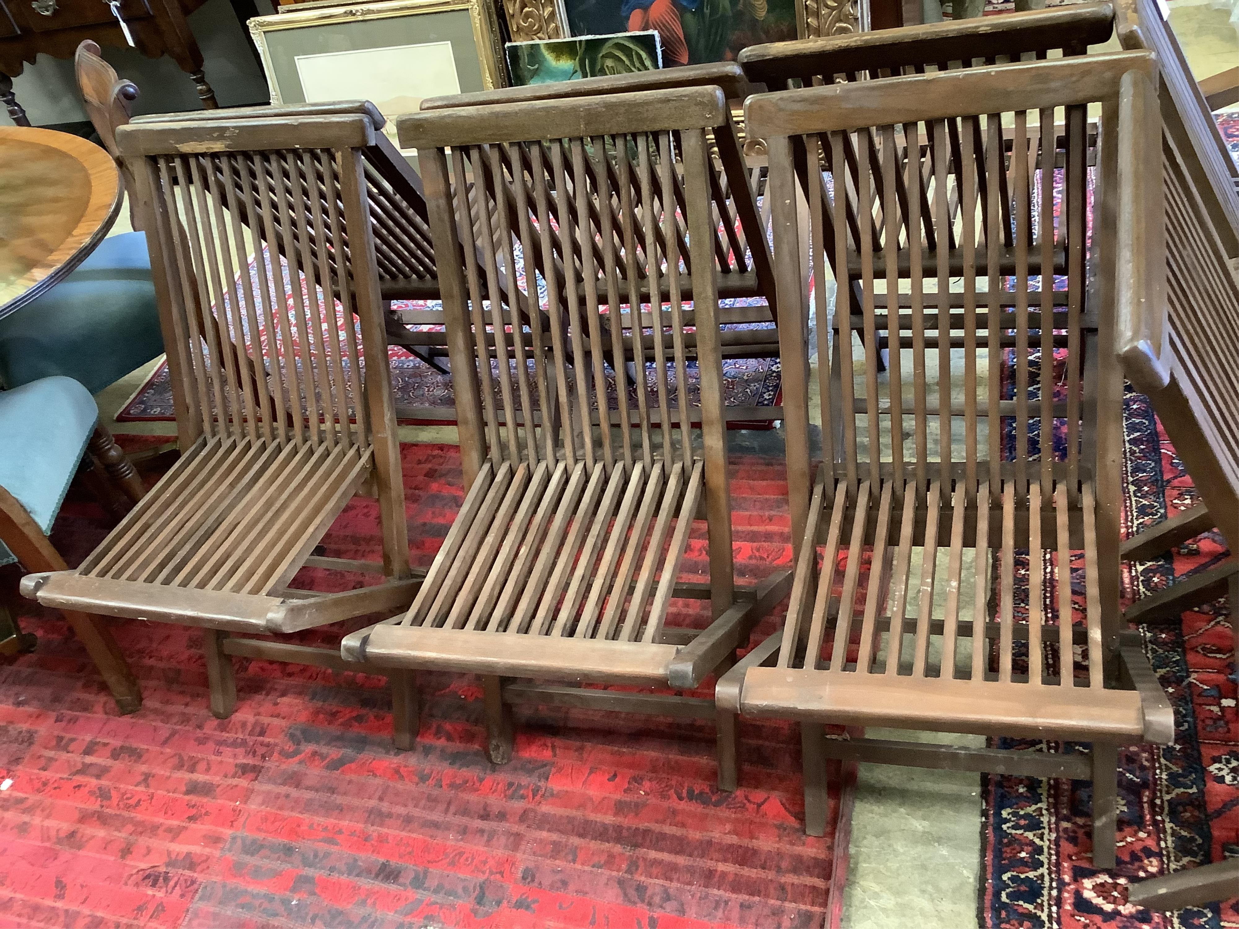 A set of eight teak folding garden chairs (two with arms) - Image 5 of 5