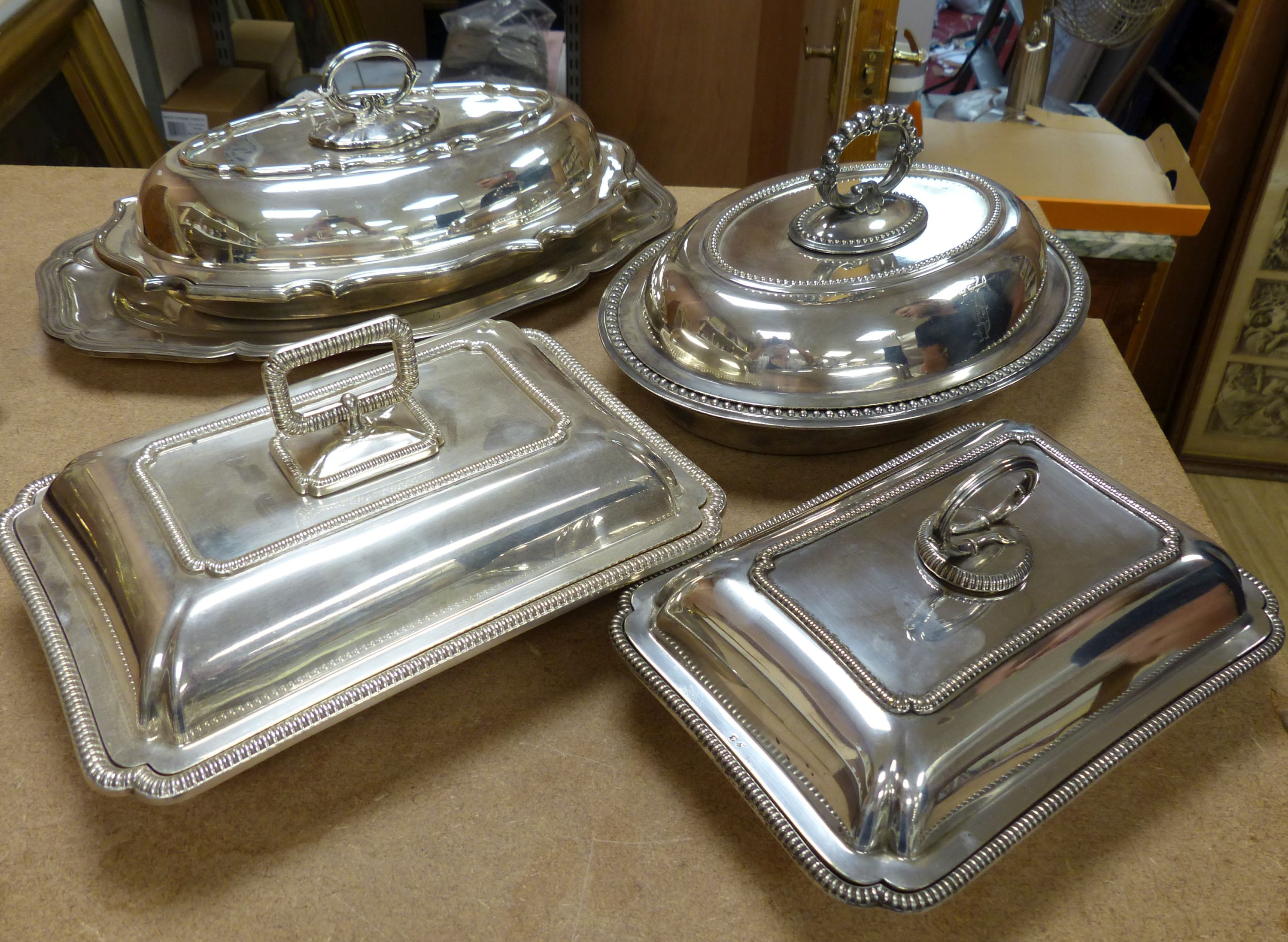 Four assorted silver plated tureens and 1 dish (5)