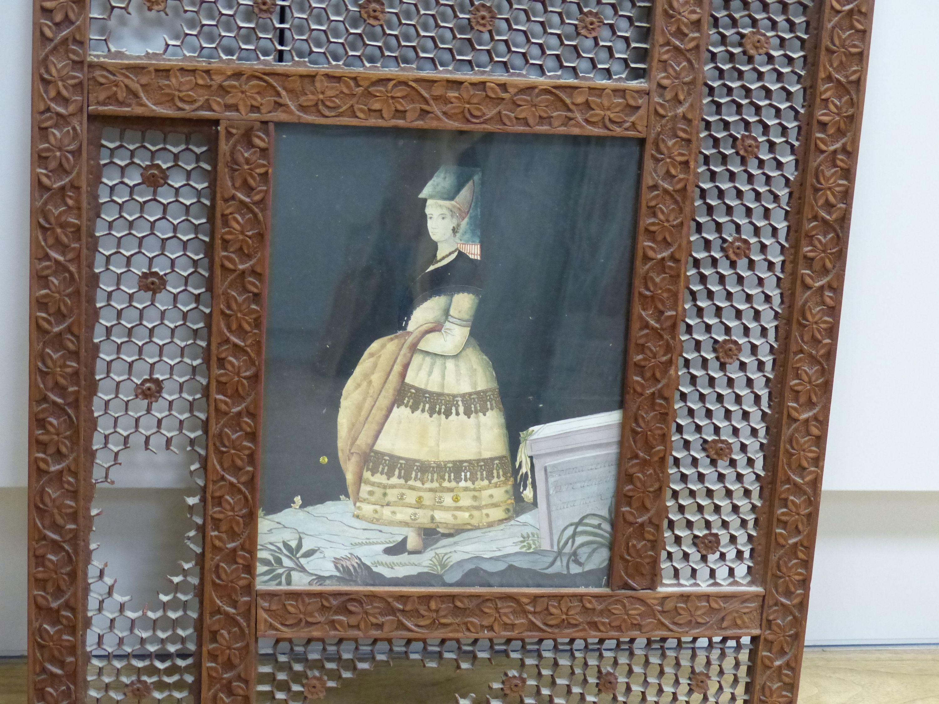 An early 19th century painted silk and gilt metal portraitdepicting a young woman wearing - Image 2 of 7