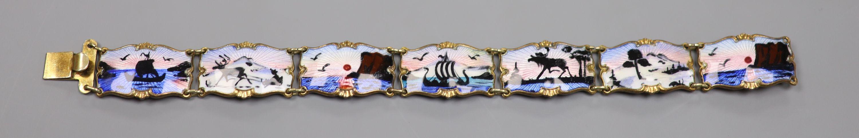 A 20th century Norwegian 830S and polychrome enamel panel set bracelet, 18.5cm,gross 28 grams.
