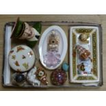 A Royal Crown Derby 'Treasures of Childhood' Rag Doll and Teddy Bear and other decorative items