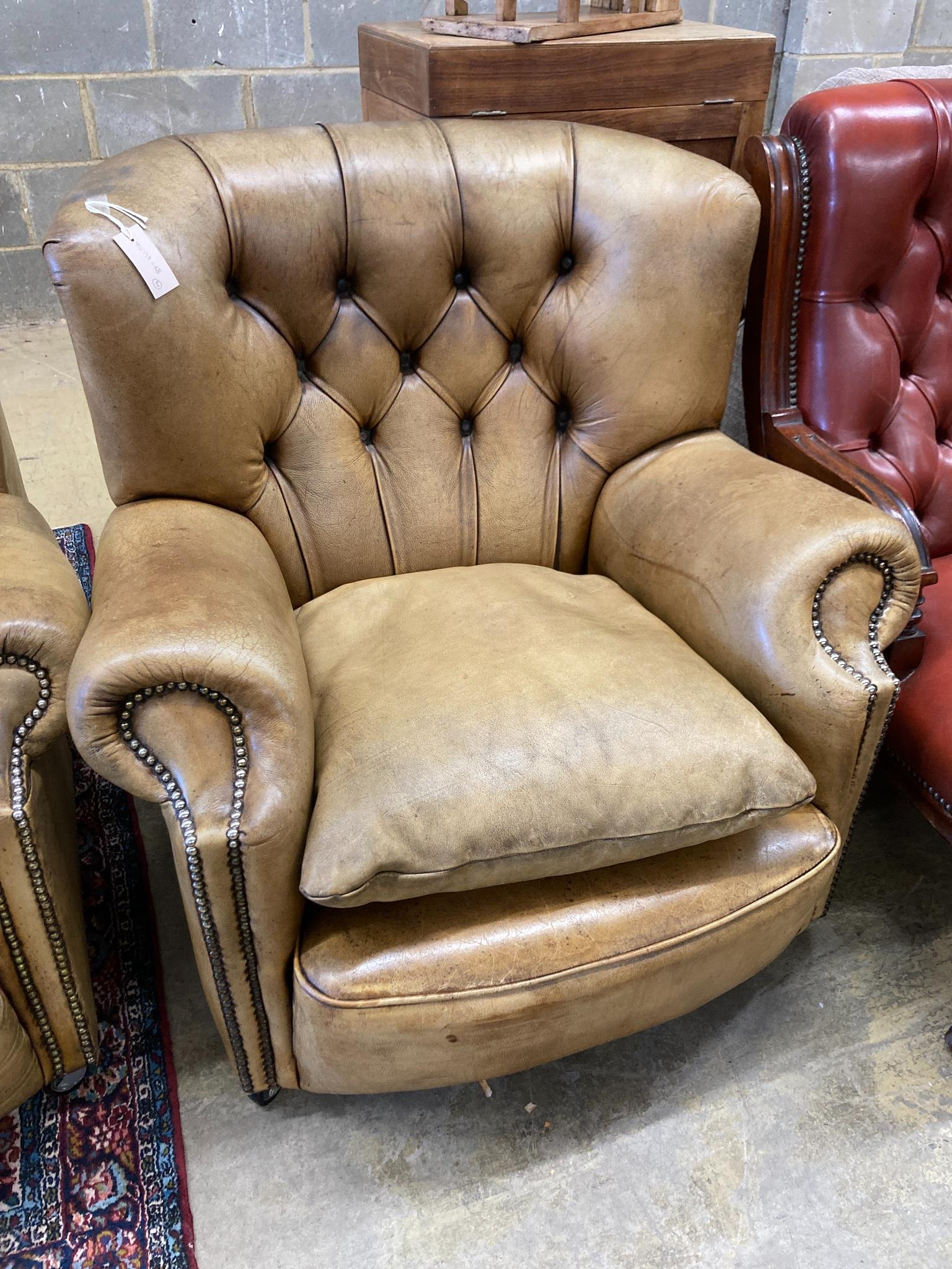 A three-seater Chesterfield leather settee, length 180cm, depth 100cm, height 84cm and a matching - Image 3 of 3