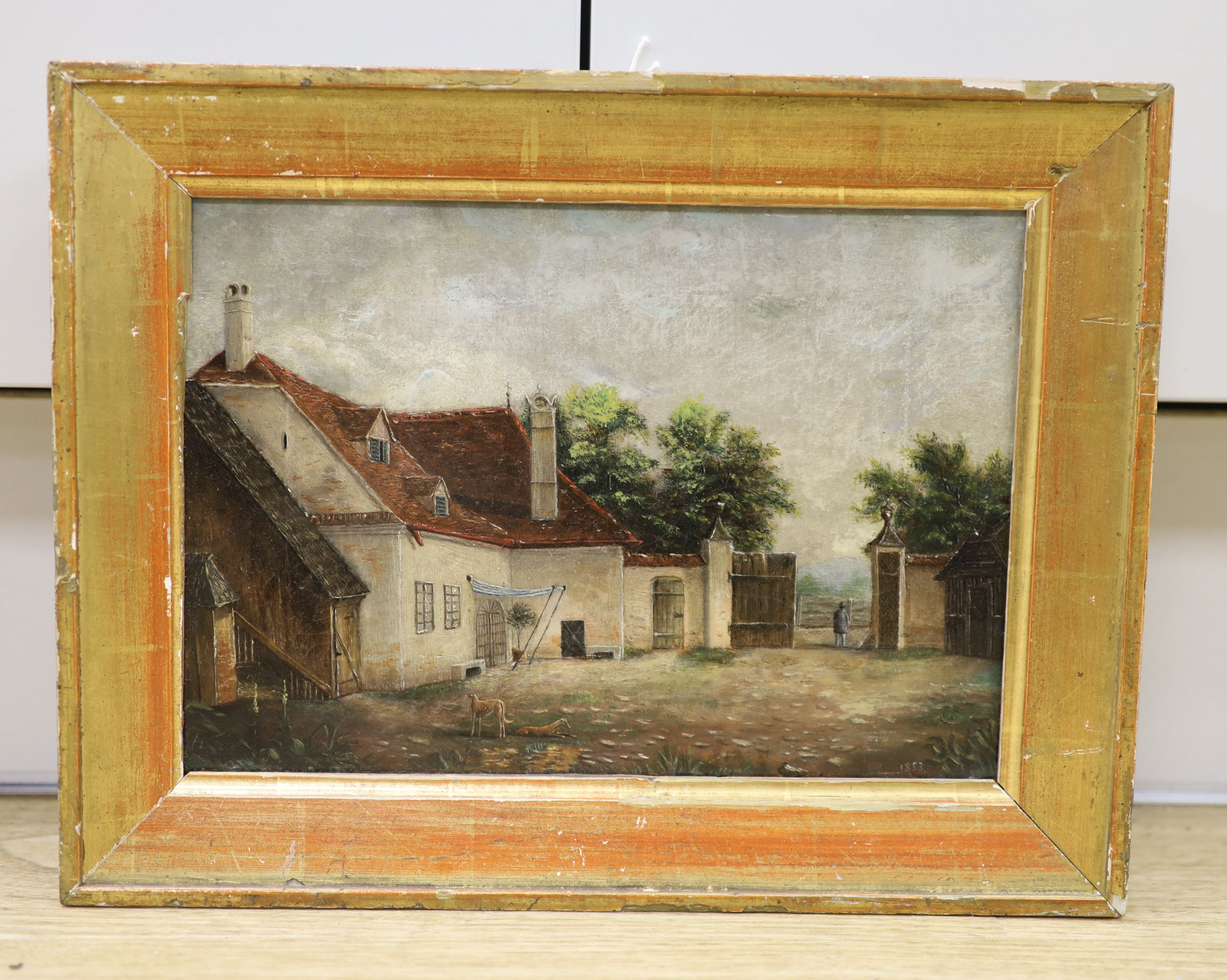 Victorian School, oil on canvas, Courtyard scene with dogs and figure in a gateway, dated 1853, 18 - Image 2 of 4