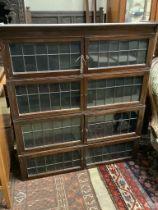 A Globe Wernicke style mahogany four section bookcase, no base, width 106cm depth 236cm