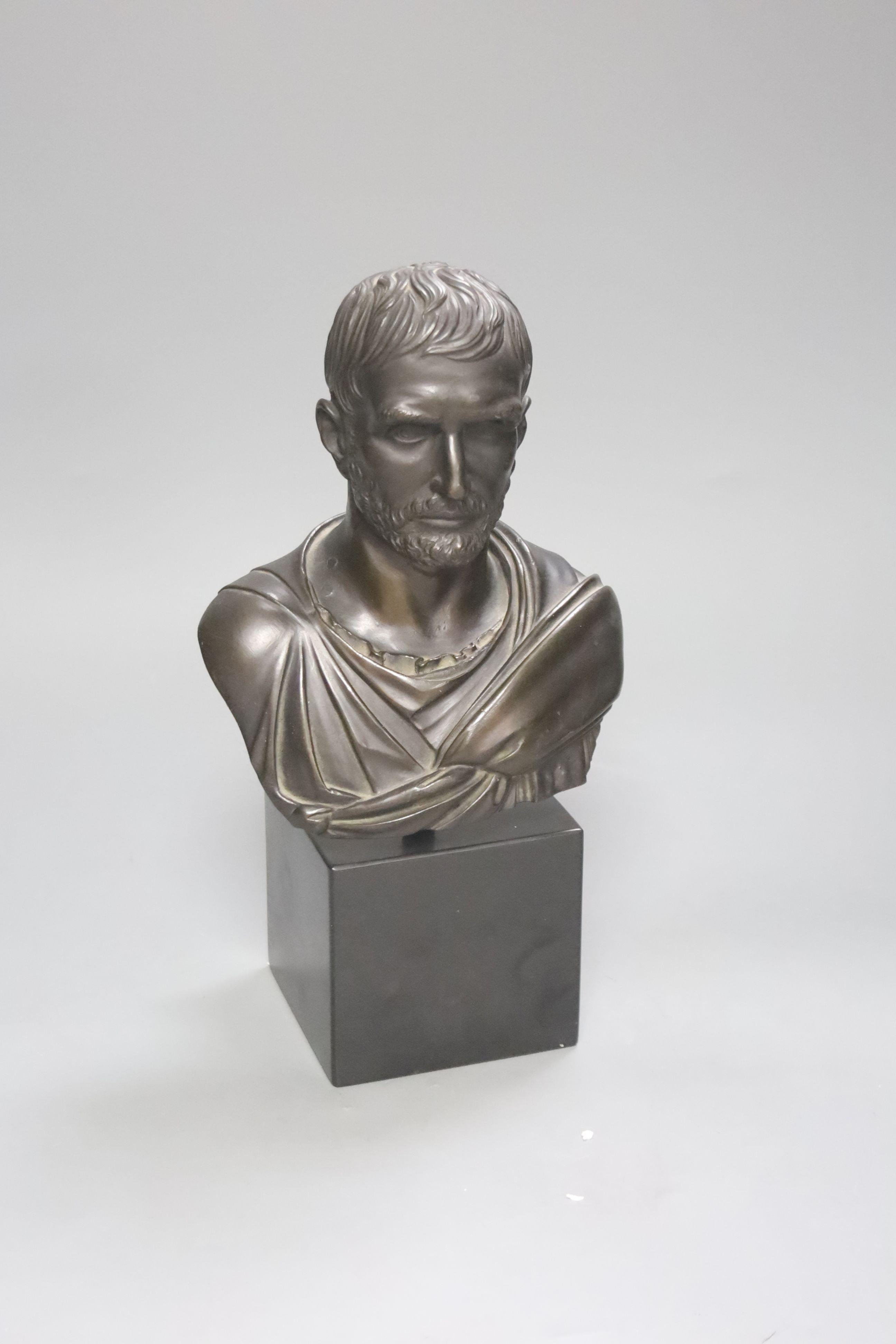 A bronze bust of a Roman Emperor, height 30cm