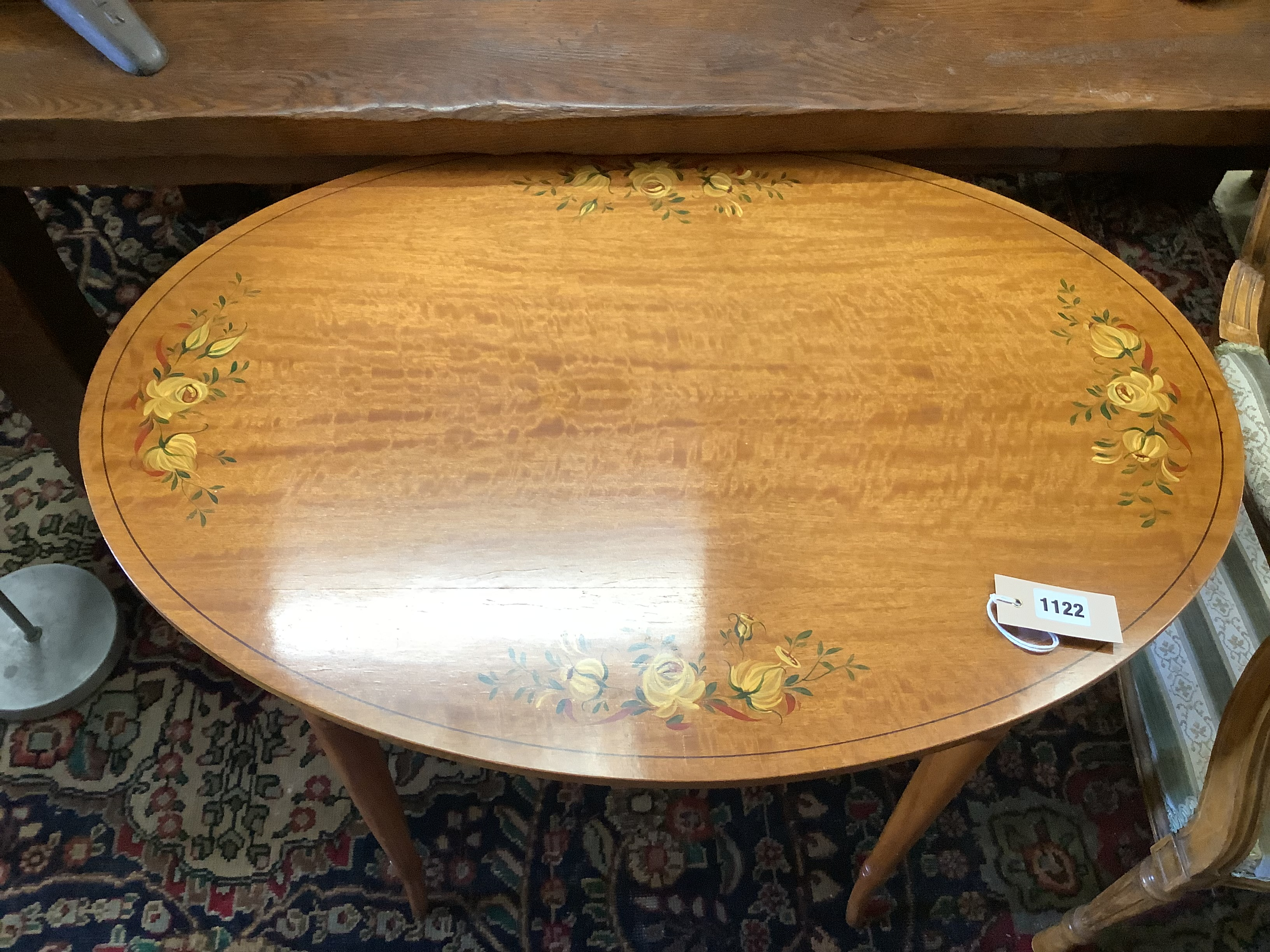 A painted oval satinwood occasional table, width 74cm, depth 51cm, height 70cm - Image 2 of 3