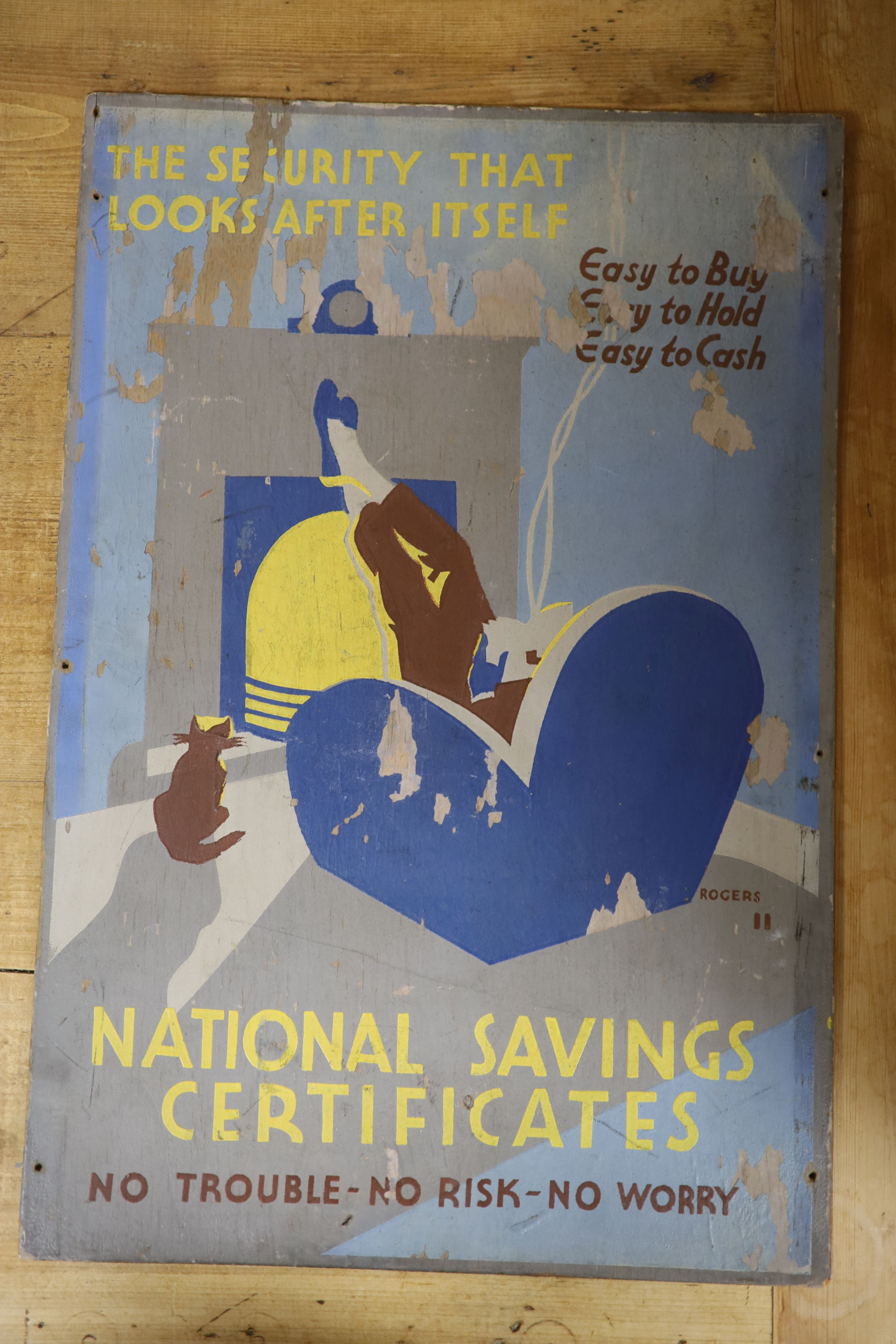 Rogers, oil on wooden panel, original artwork for National Savings Certificates poster, signed, 46 - Image 2 of 3