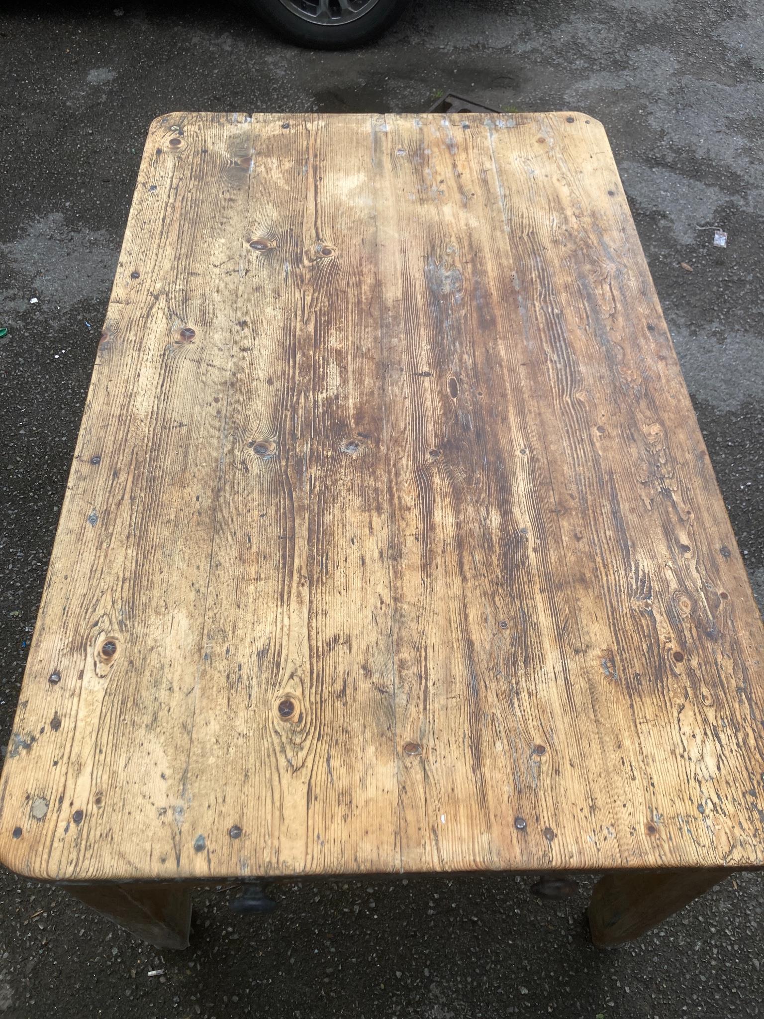 A Victorian rectangular pine kitchen table, width 132cm, depth 82cm, height 75cm - Image 3 of 3
