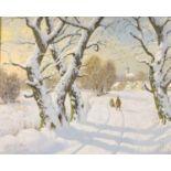 Z* Nemeth (20th century), oil on canvas, Winter landscape,signed, gilt and green velvet frame,50 x