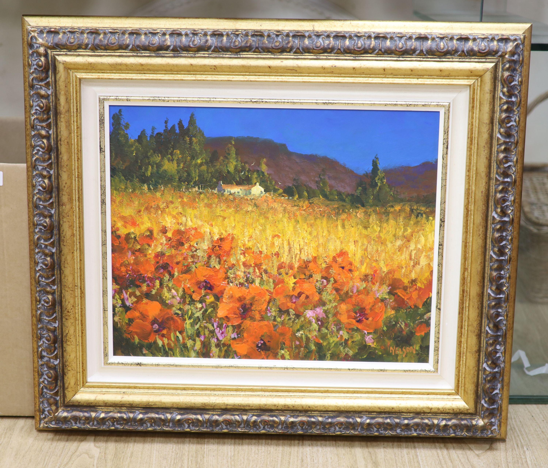 Allan Nelson, acrylic on board, 'Poppy Scene', signed, with COA, 40 x 50cm - Image 2 of 5