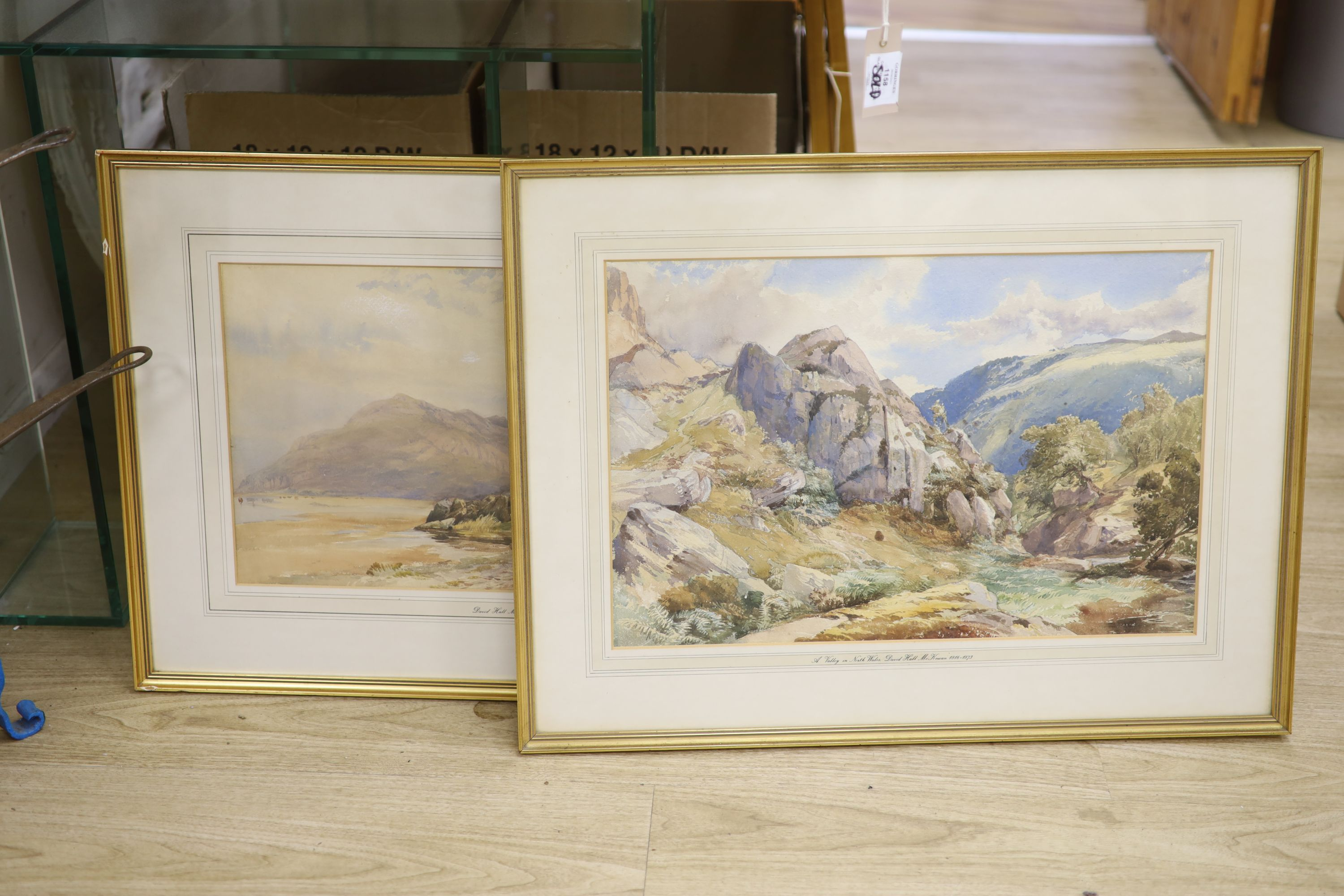 David Hall McKewan (1816-1873), pair of watercolours, A Valley in North Wales and a companion