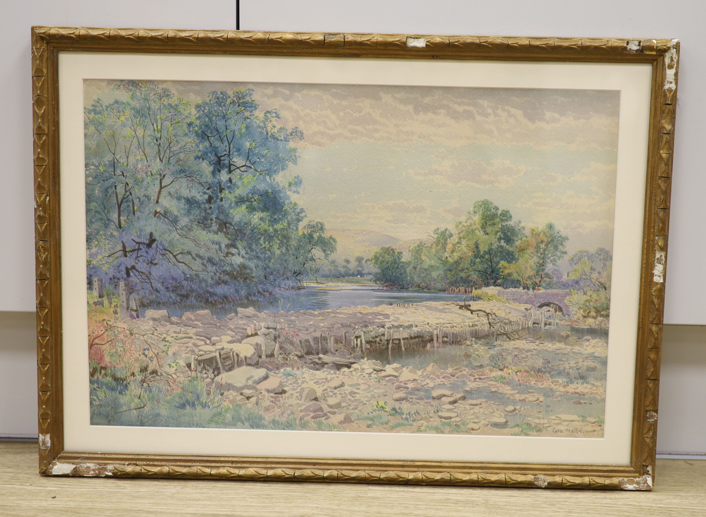 George Wolfe (1834-1890), watercolour, River landscape with weir, signed, 33 x 50cm - Image 2 of 3