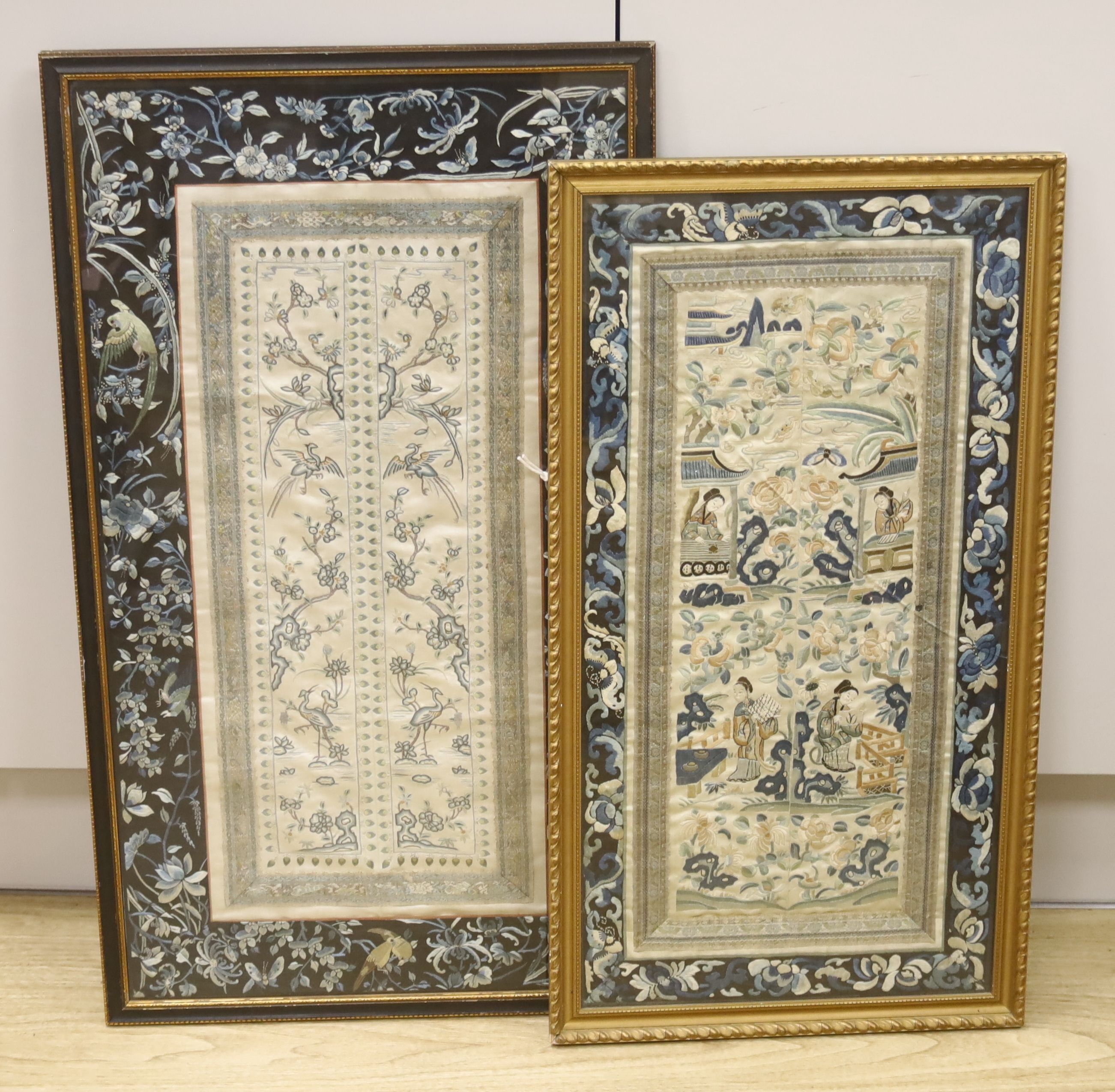 Two framed Chinese late Qing embroidered silk panels71 x 39cm & 62 x 32cm