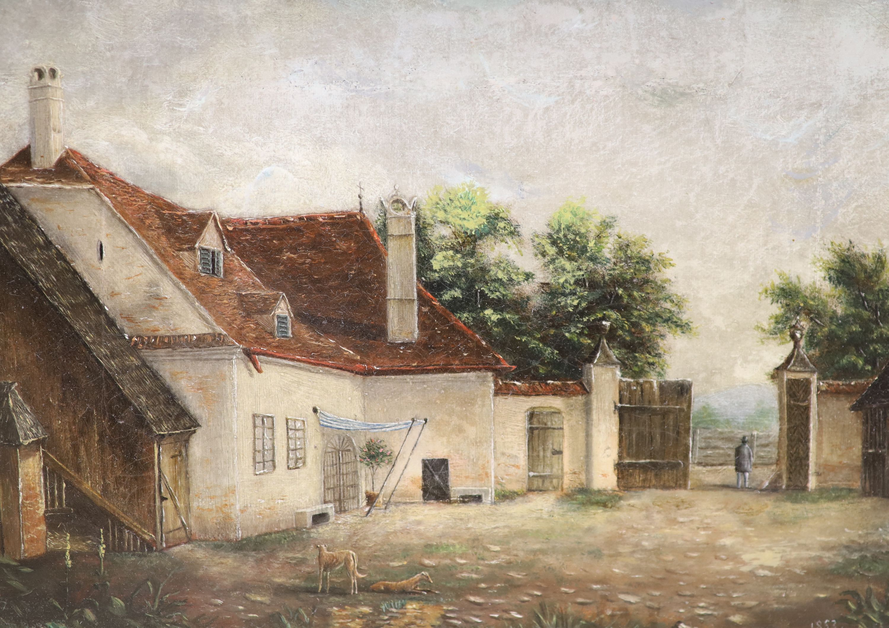 Victorian School, oil on canvas, Courtyard scene with dogs and figure in a gateway, dated 1853, 18