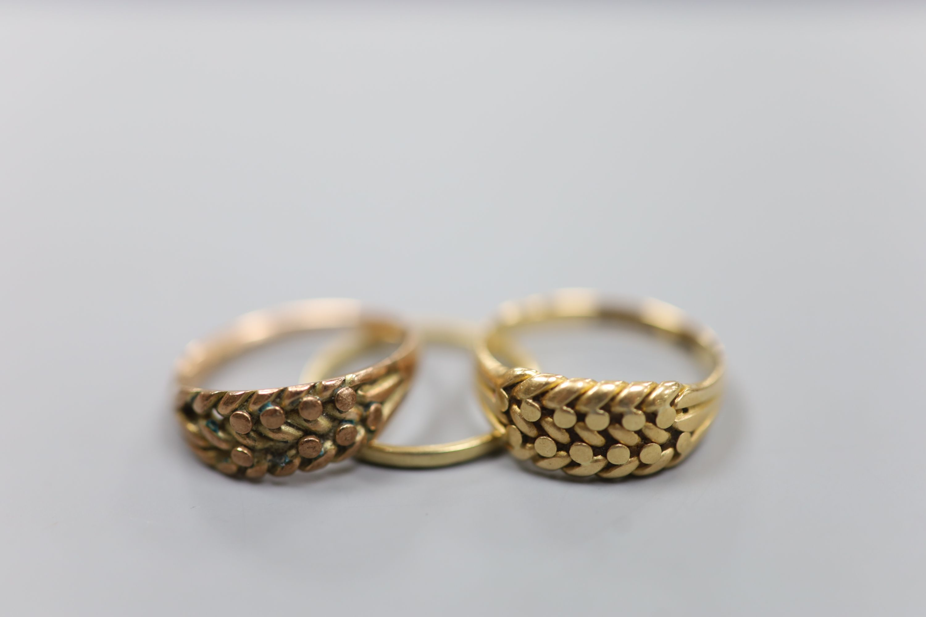 Three assorted 9ct gold rings,8.3 grams. - Image 2 of 3