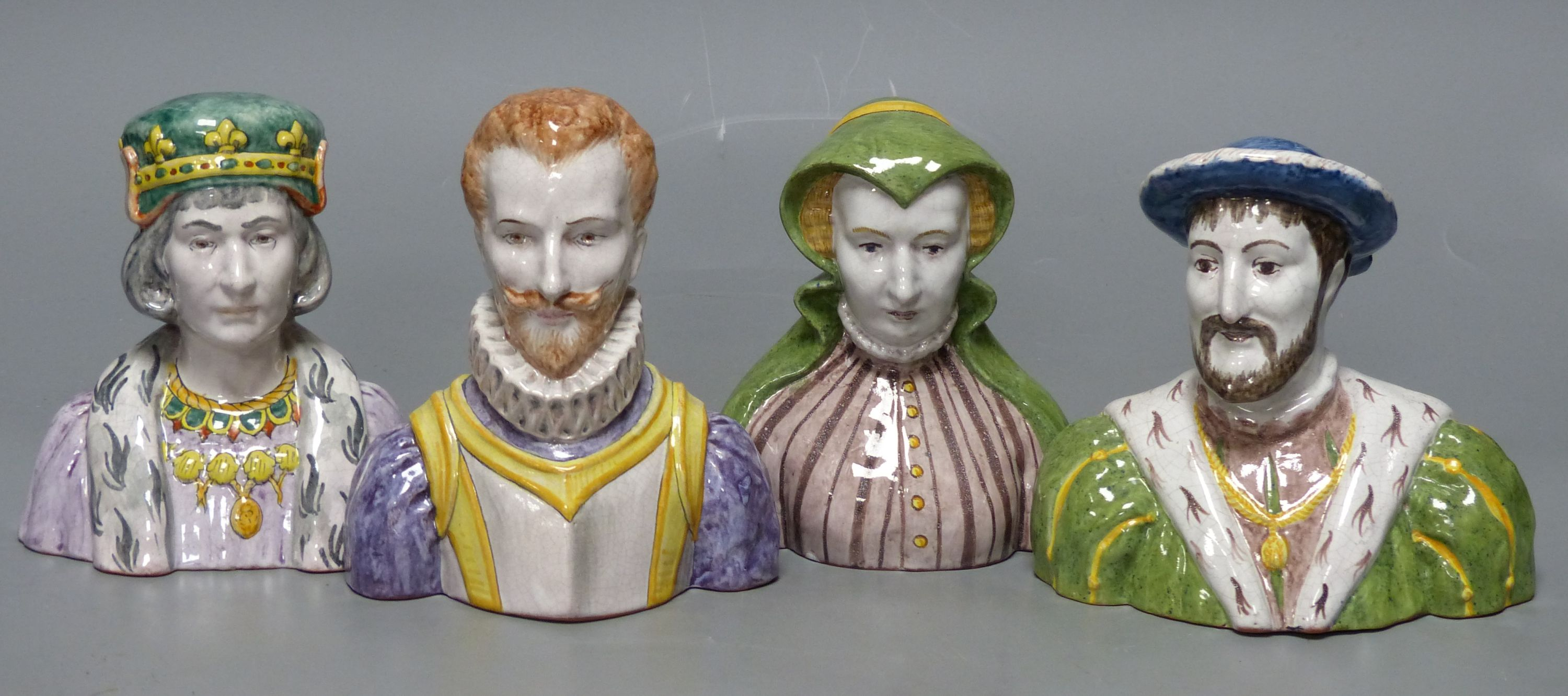 A French tin-glazed faience small bust of Catherine de Medici, another of Francois I and two