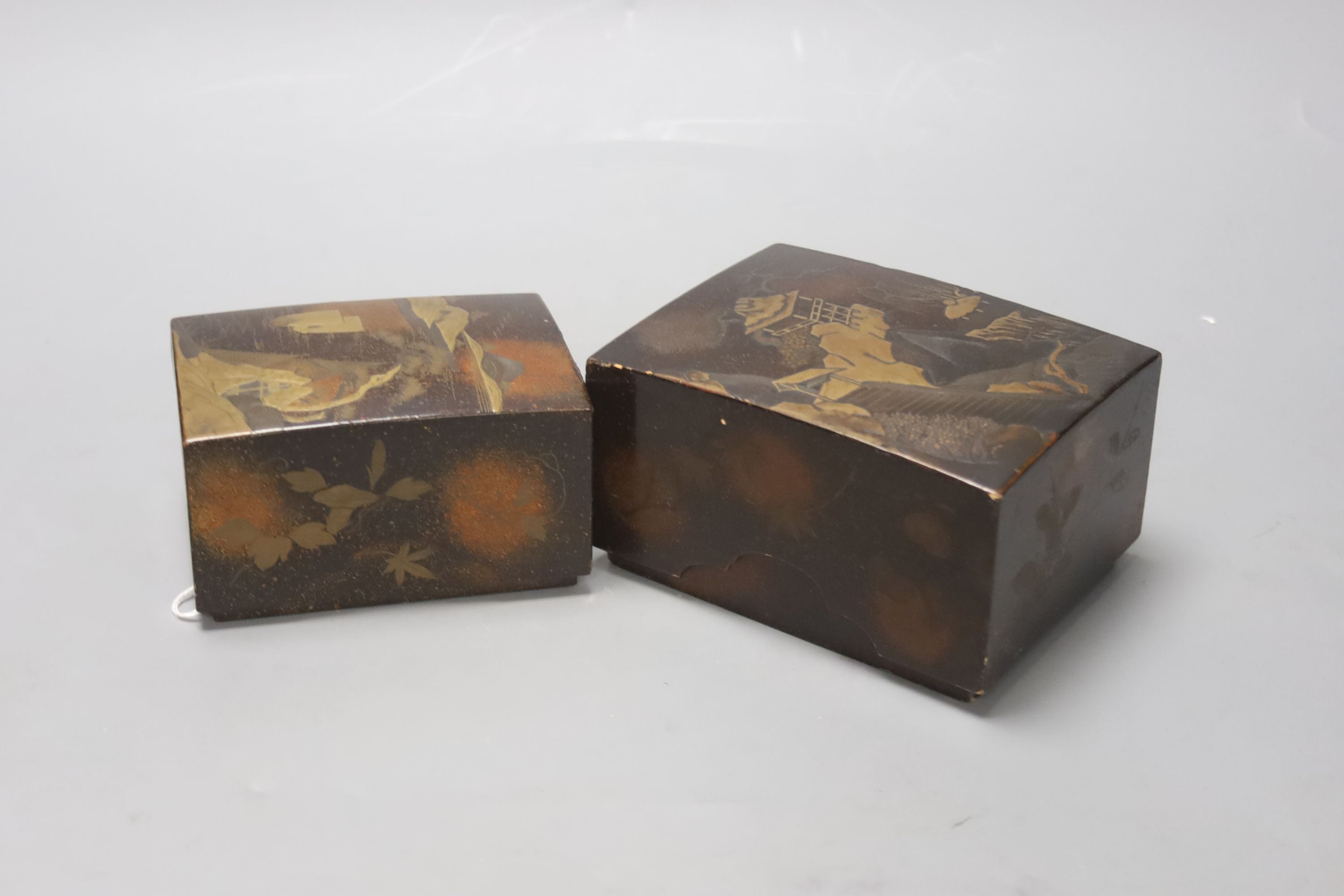 Two Japanese lacquer boxes, 19th century, largest 13.5cm - Image 2 of 4