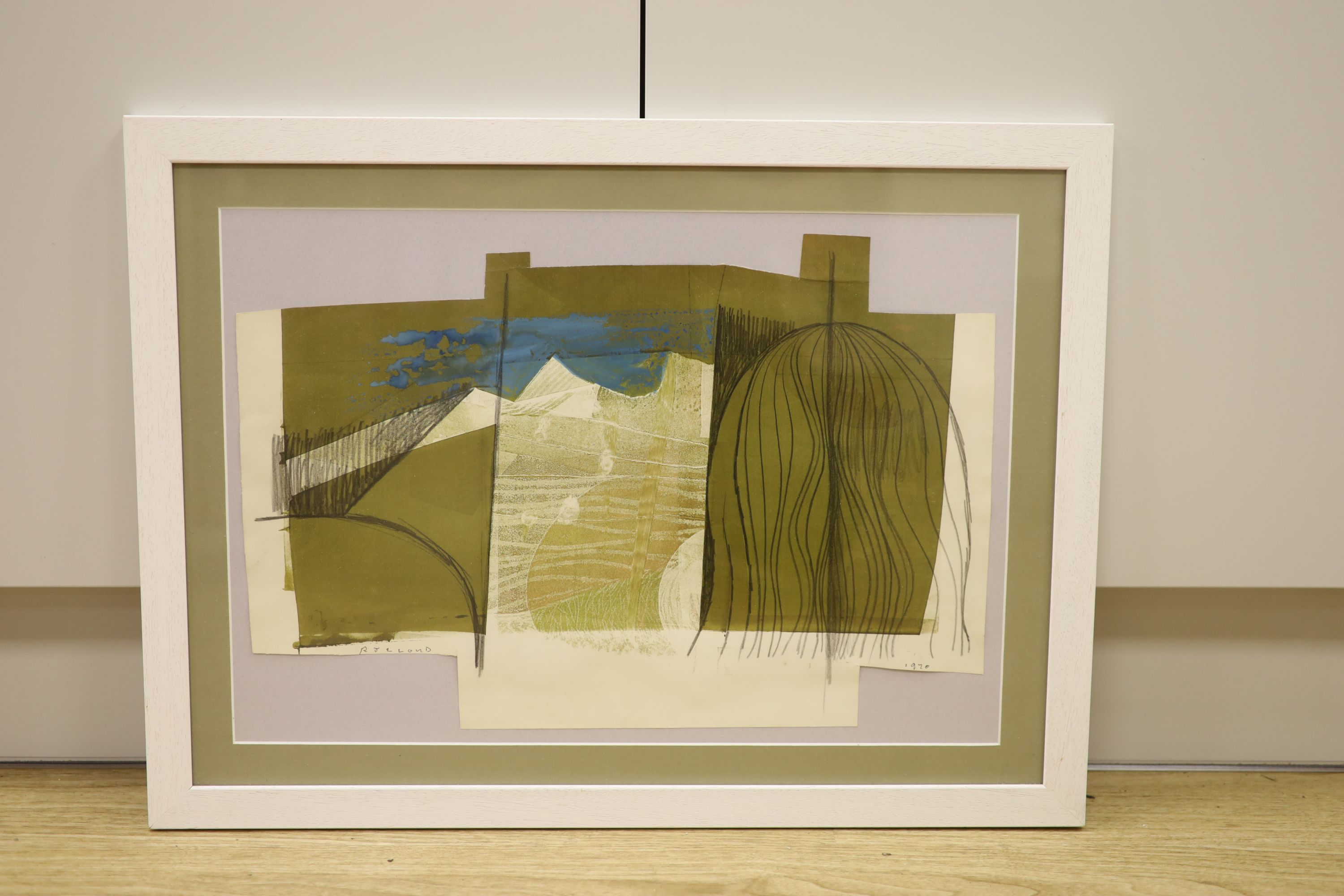 R. J. Lloyd, mixed media, Abstract landscape, signed and dated 1970, 35 x 51cm - Image 2 of 3