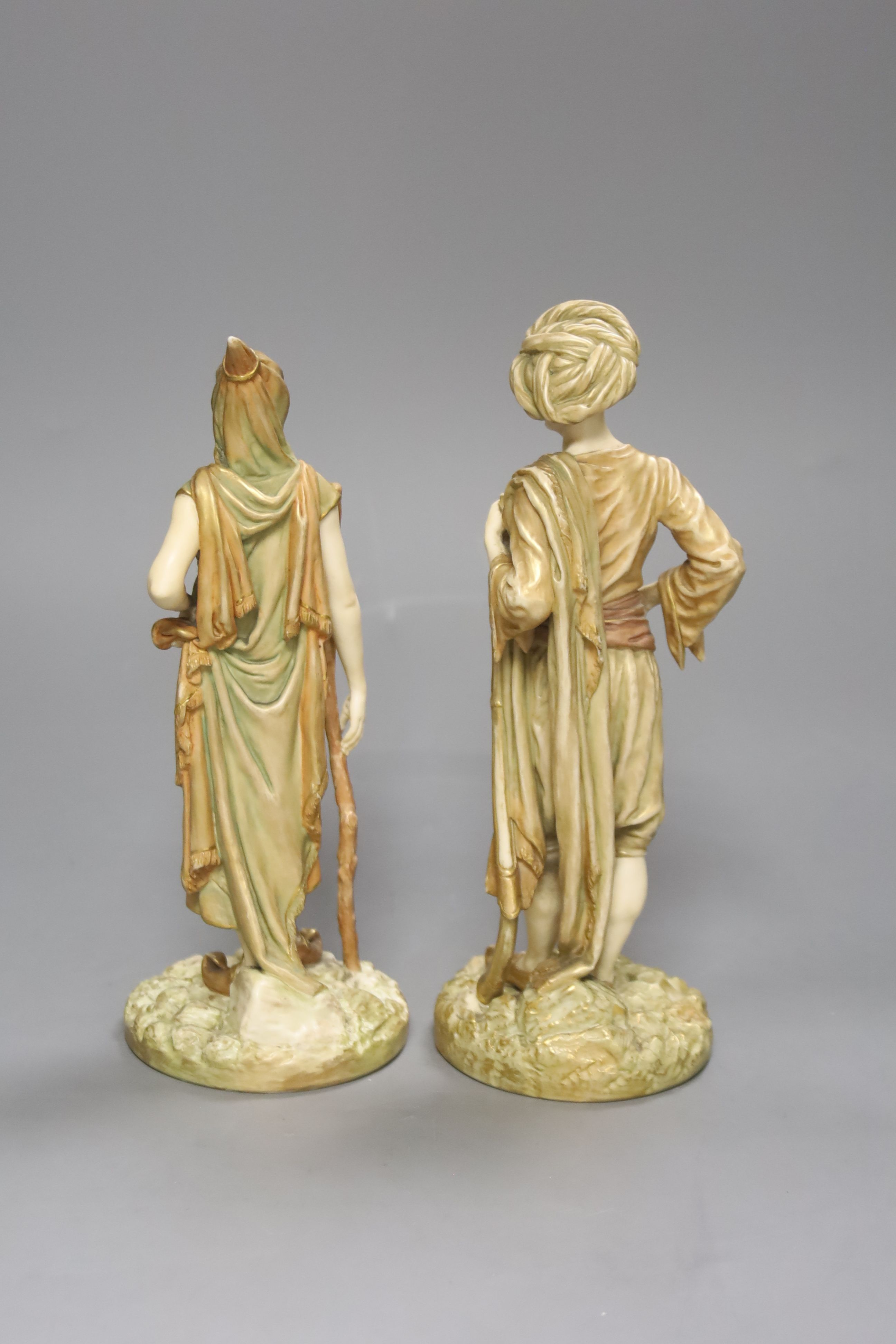 A pair of Royal Worcester blush figures of Bringaree Indians, 1893, height 23cm - Image 4 of 5