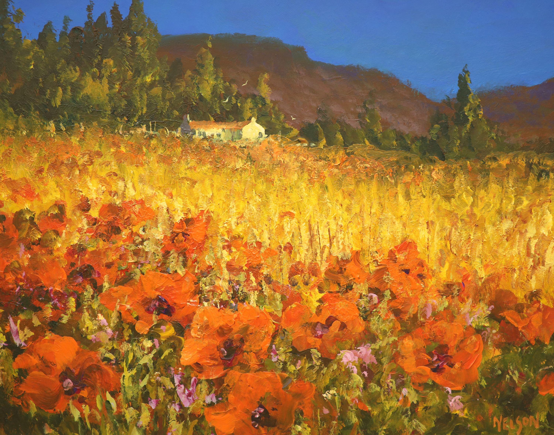 Allan Nelson, acrylic on board, 'Poppy Scene', signed, with COA, 40 x 50cm