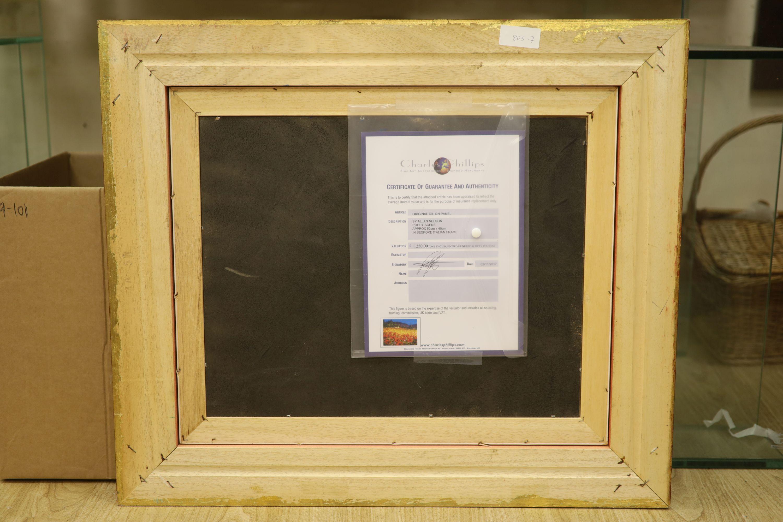 Allan Nelson, acrylic on board, 'Poppy Scene', signed, with COA, 40 x 50cm - Image 4 of 5