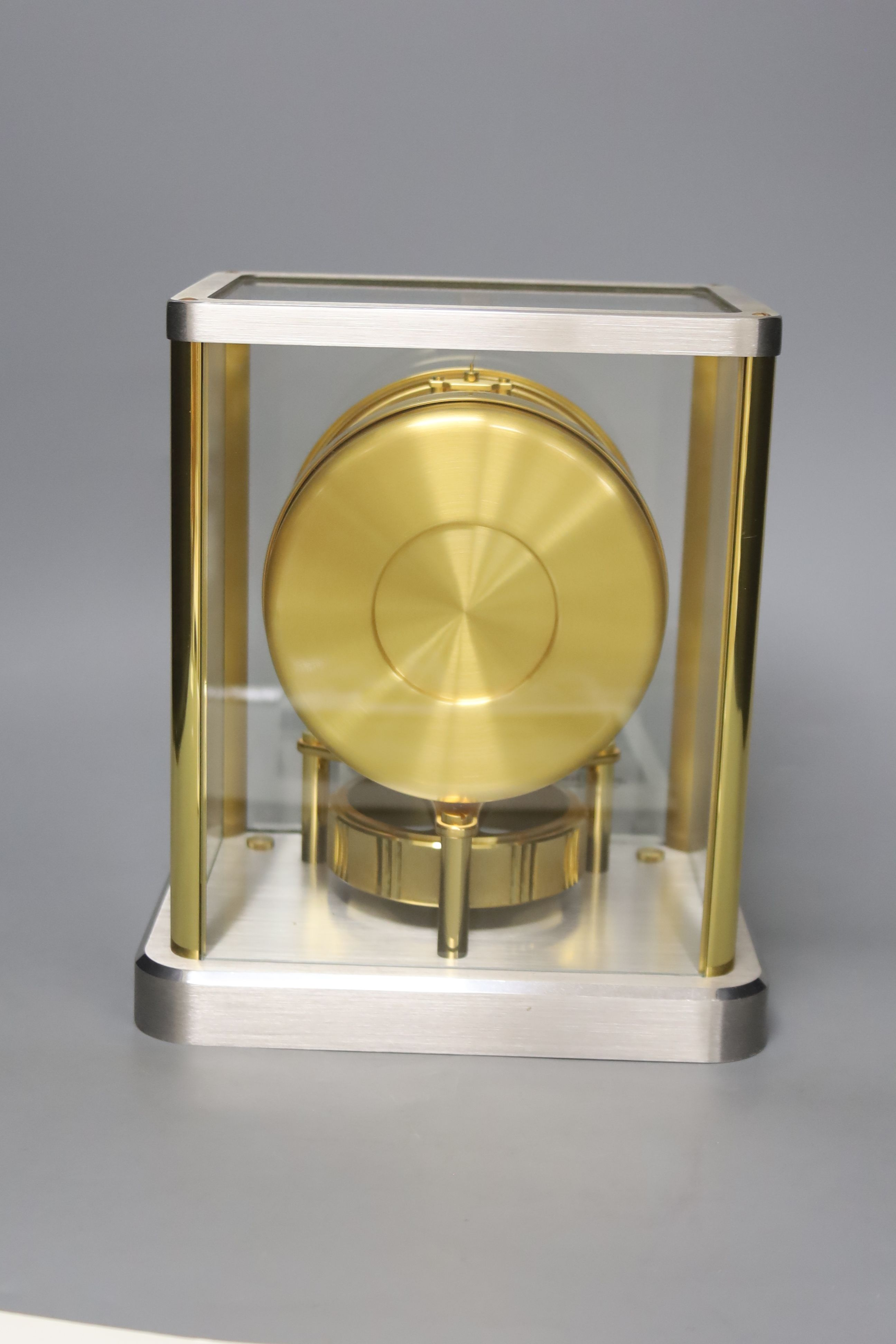 A Jaeger le Coultre Atmos mantel clock, in silvered and gilt metal glazed panelled case, height - Image 4 of 6