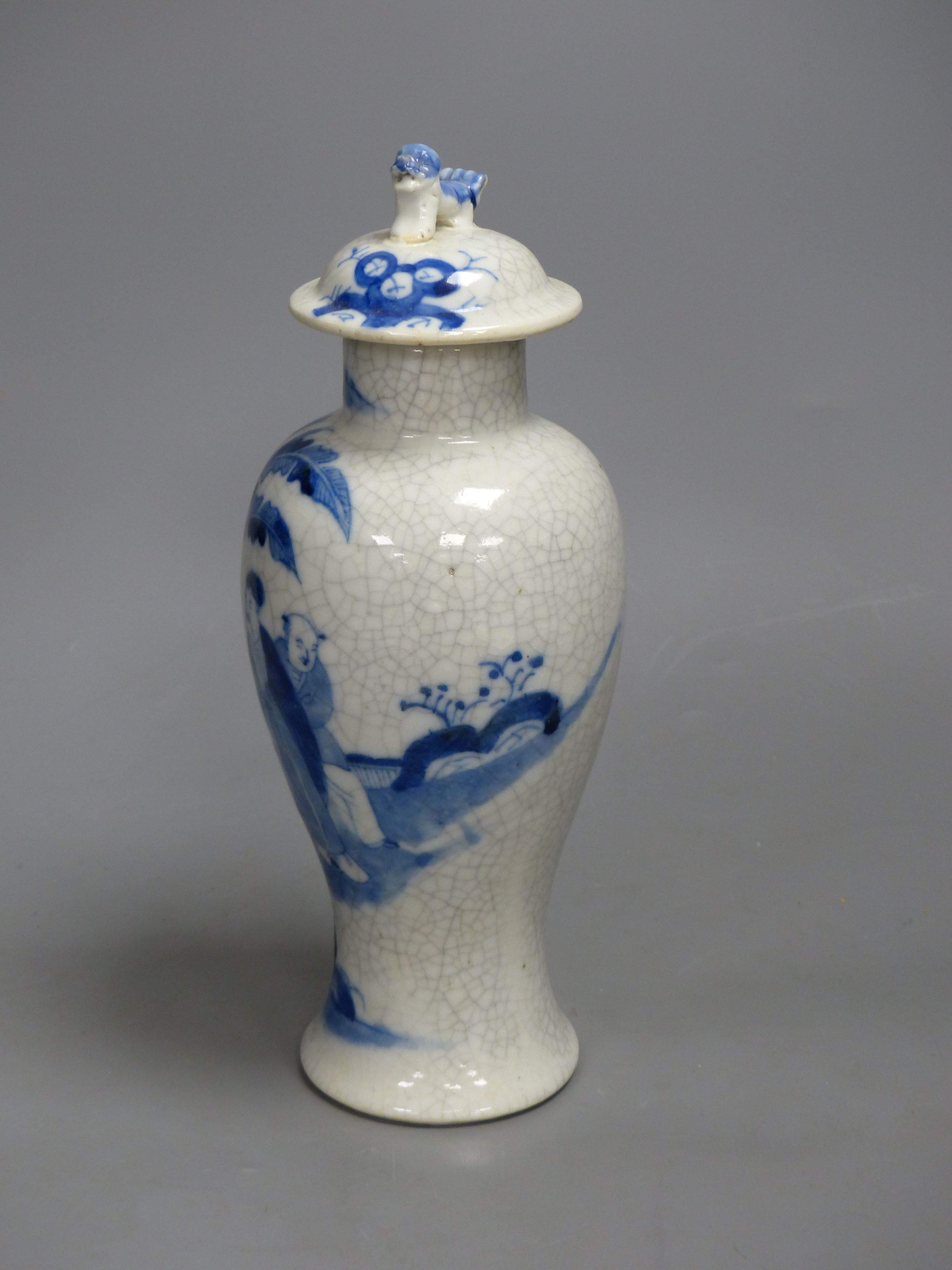 A late 19th century Chinese blue and white crackle glaze vase and cover, height 27cm - Image 2 of 5