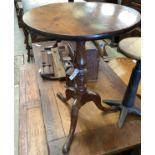 A Victorian mahogany tilt top tripod tea table, diameter 54cm, height 73cm