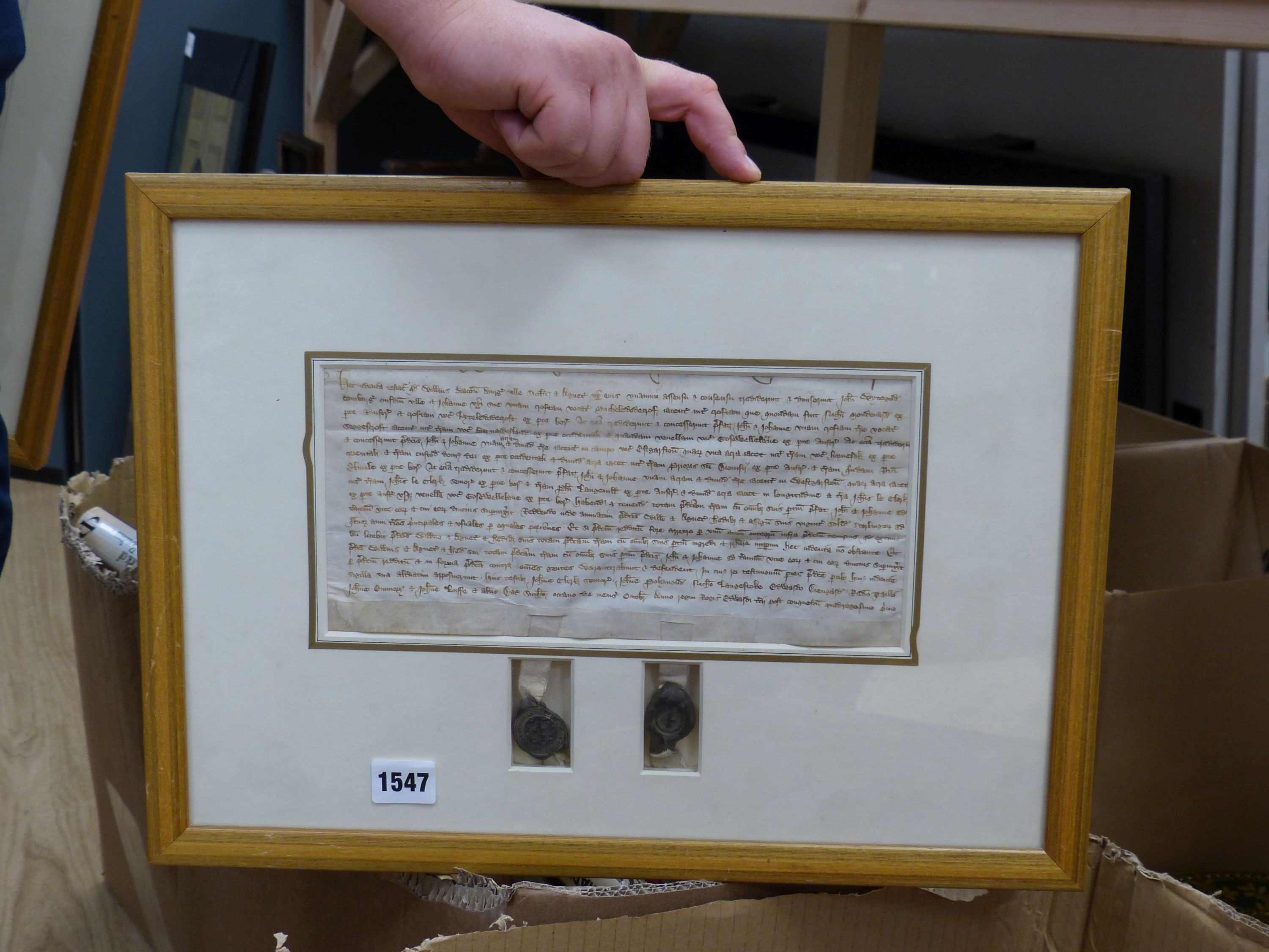 Two early deeds, framed,comprising 'William Bluet, Lord of Lachan, witnessed by Robert Witchampton, - Image 2 of 4