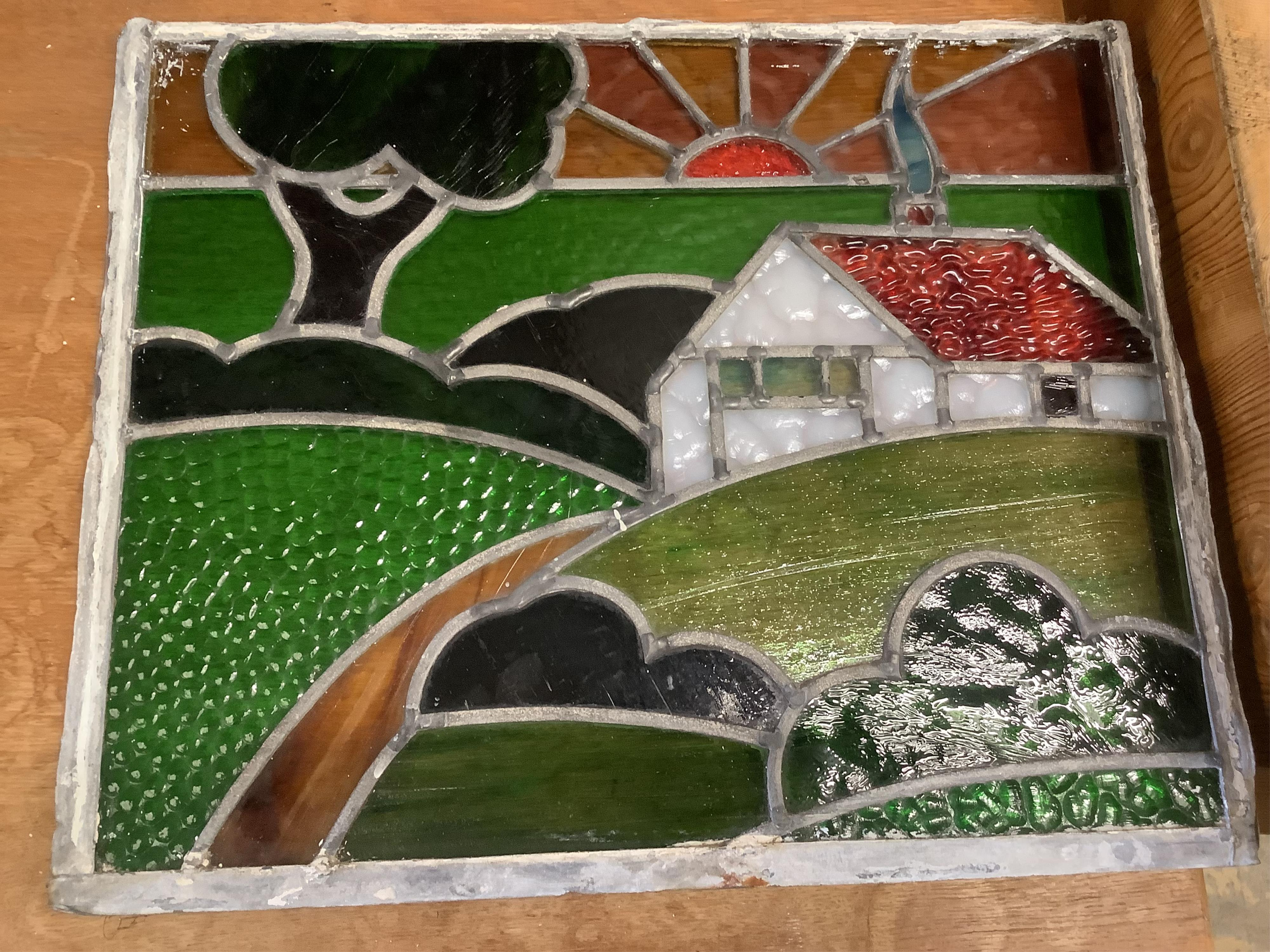 Two leaded stained glass panels, 46 x 38cm - Image 3 of 3