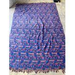 A blue ground flat weave Kelim, 240 x 180cm