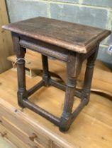 A 17th century style oak joint stool, length 44cm, depth 28cm, height 53cm
