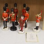 Eight limited edition ceramic figures by Michael Sutty, comprising 'Grenadier Guards 1980's', no.