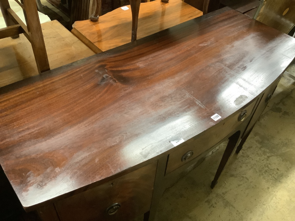 A late 19th century Sheraton style mahogany bowfront sideboard, fitted three drawers, length 140cm, - Image 2 of 4