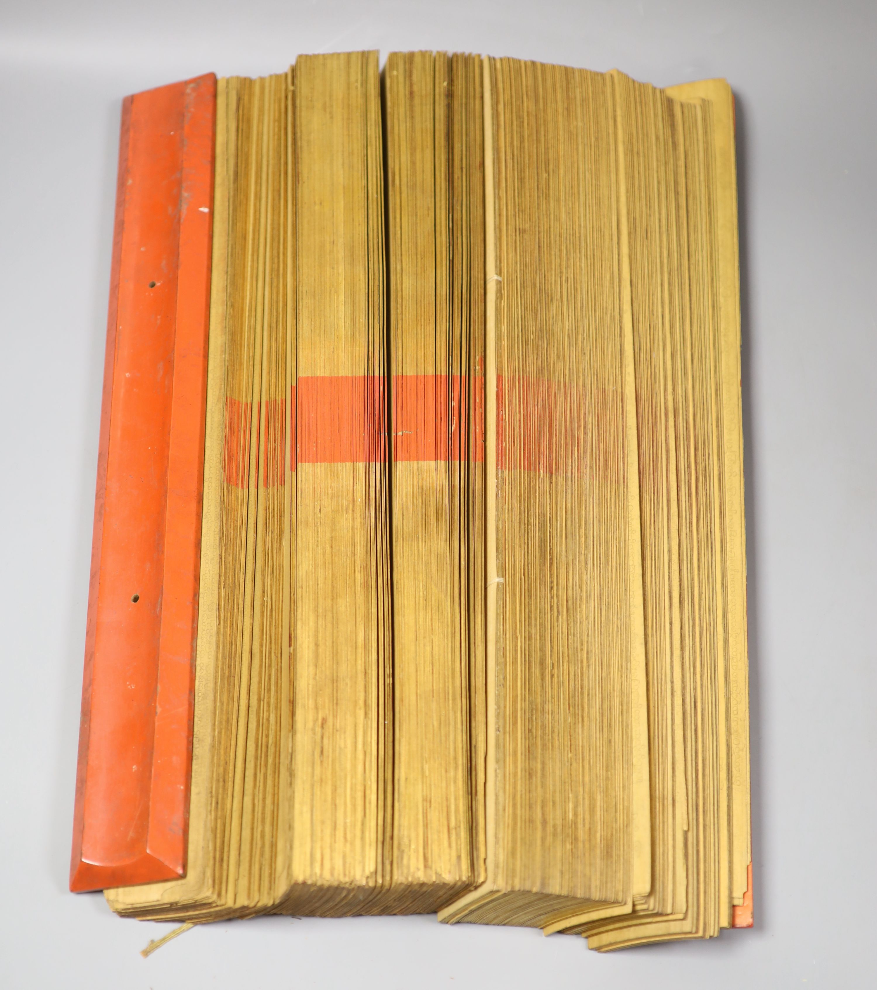 Three 19th century Burmese lacquered Sutra manuscripts, each written in Pali on bamboo leaves, gold - Image 2 of 5