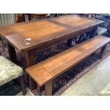 A French provincial rectangular fruitwood farmhouse table,fitted two small drawers on square