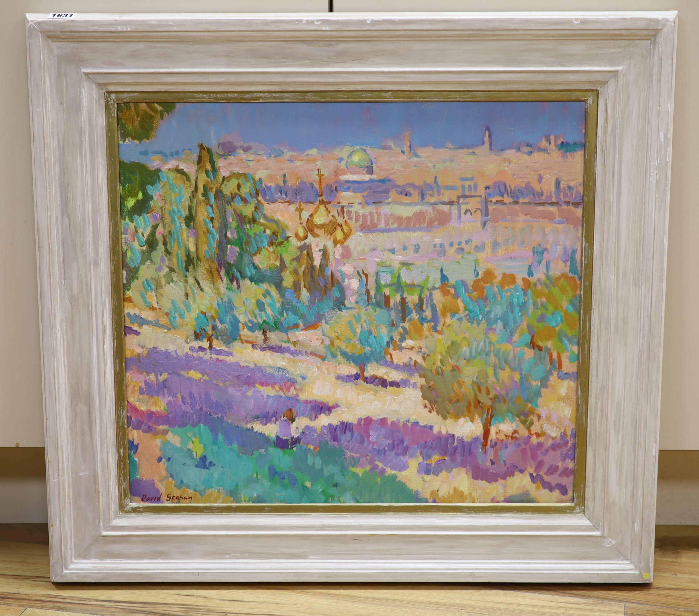 § David Graham, oil on canvas, Overlooking Jerusalem, signed, 48 x 54cm - Image 2 of 5