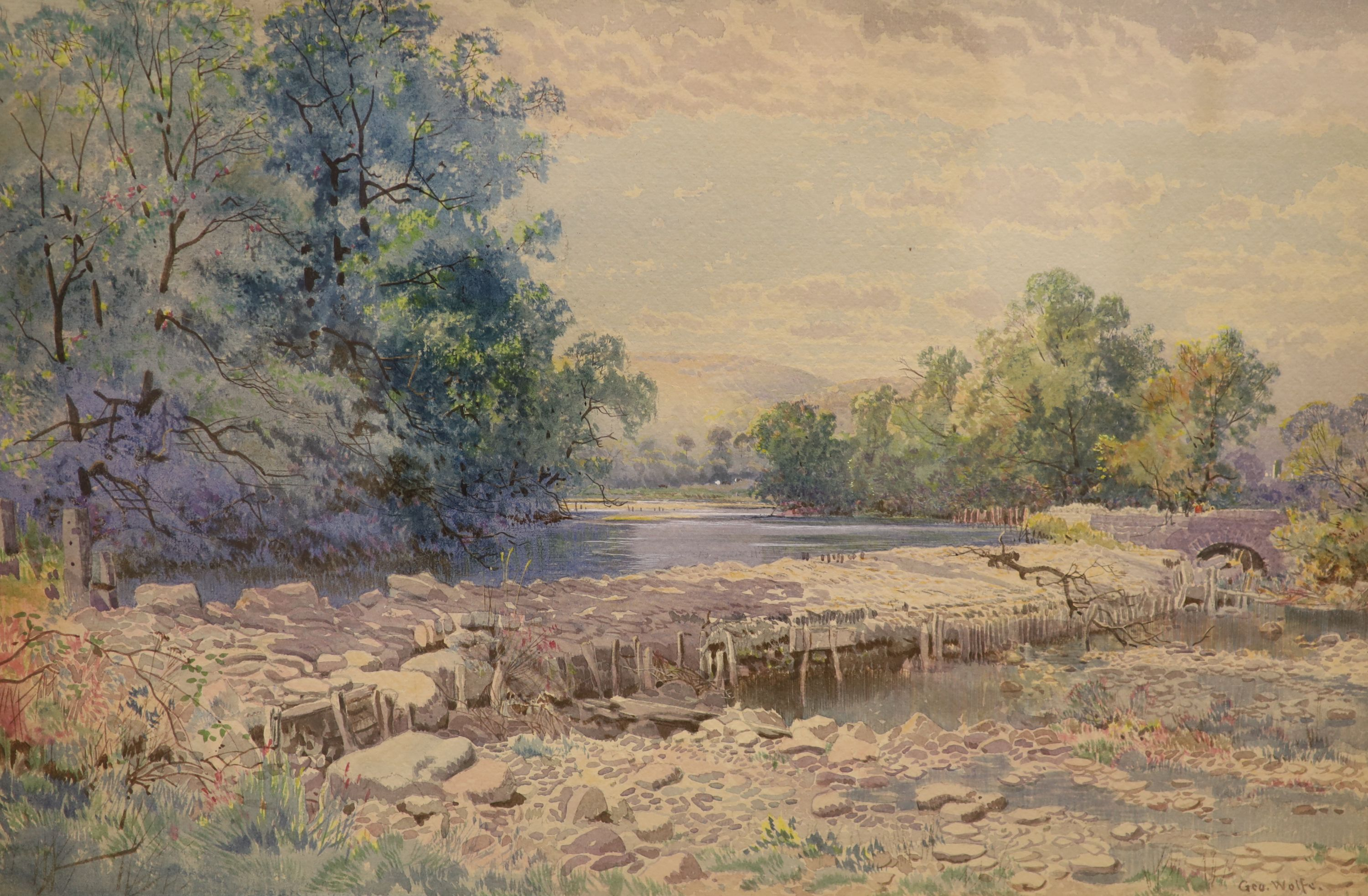 George Wolfe (1834-1890), watercolour, River landscape with weir, signed, 33 x 50cm