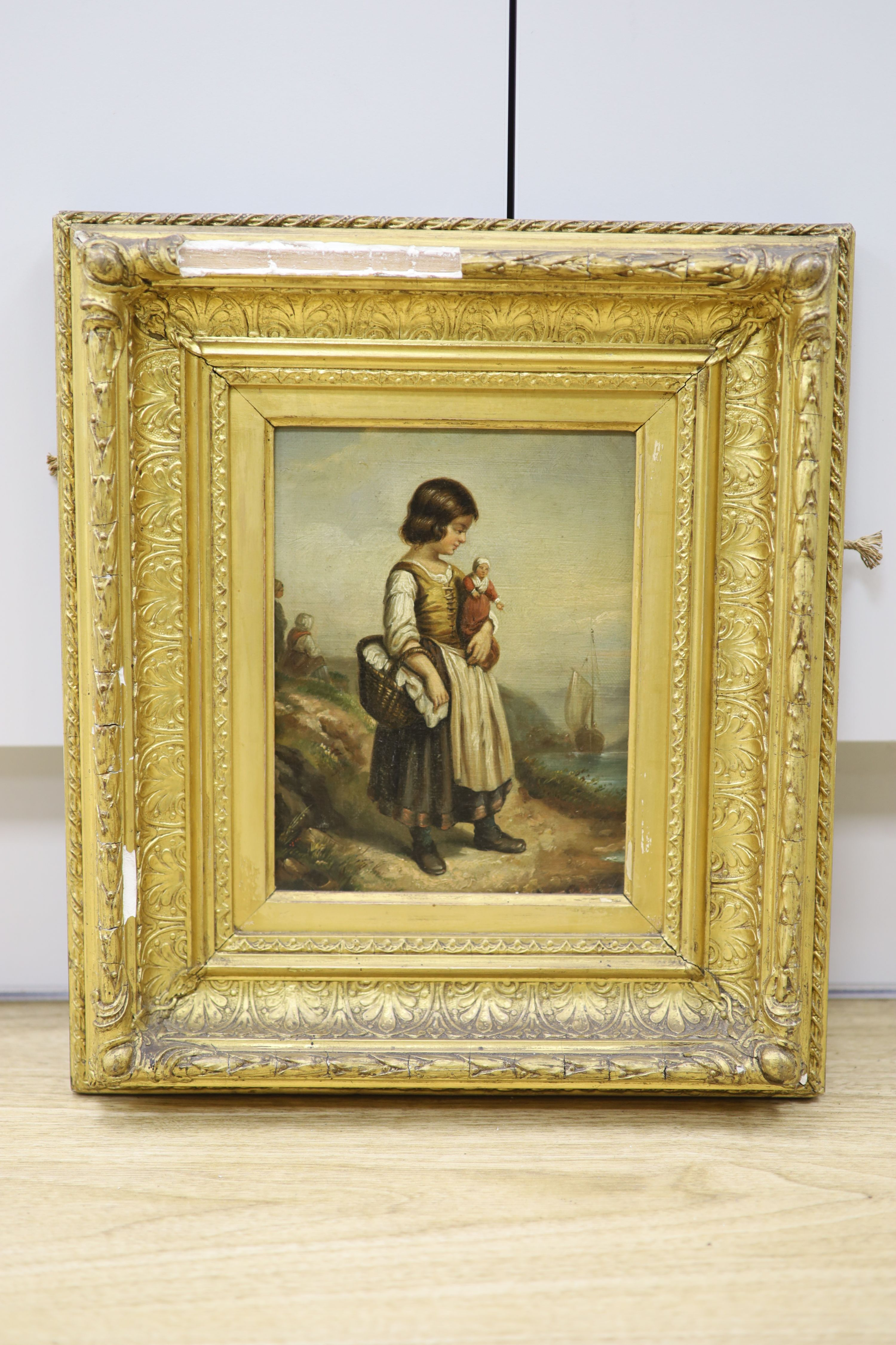 19th century French School, oil on canvas, Girl holding a doll standing upon the seashore, 21 x - Image 2 of 2