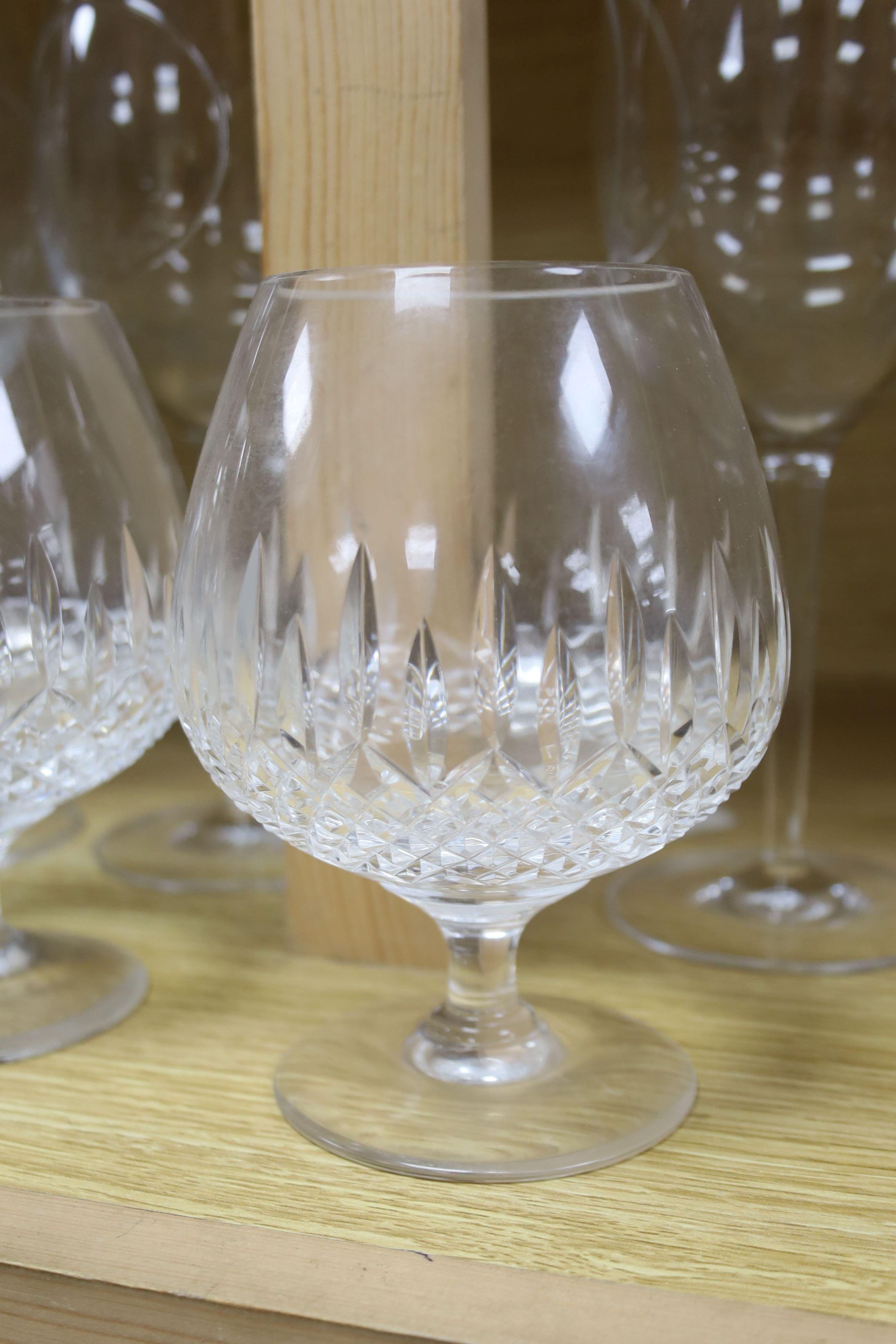 Four John Rocha Waterford wine glasses and three Stuart cut glass brandy glasses - Image 2 of 4