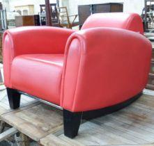 A red leather club armchair, height 70cm, width 87cm, depth 98cm