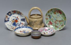 Chinese Imari pattern dishes, two others, a teapot, height 15cm, and a pottery bowl