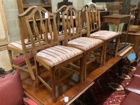 A set of six Edwardian Hepplewhite style inlaid dining chairs