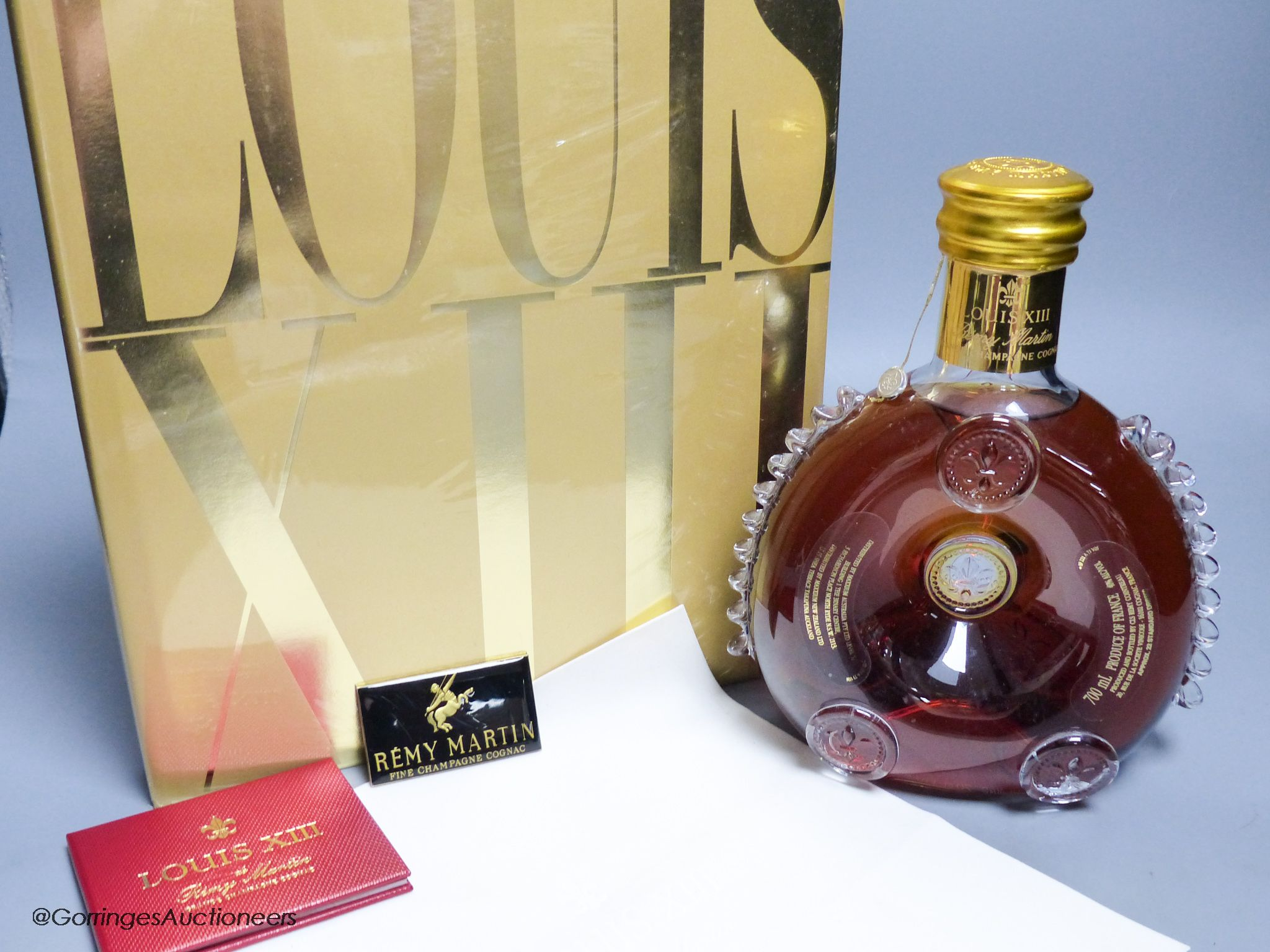 A sealed bottle of Louis XIII Remy Martin Grand Champagne Cognac, Carafe No.DJ9508, with original - Image 4 of 4