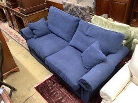 A modern blue fabric metal action two seater sofa bed, width 190cm, depth 90cm, height 90cm