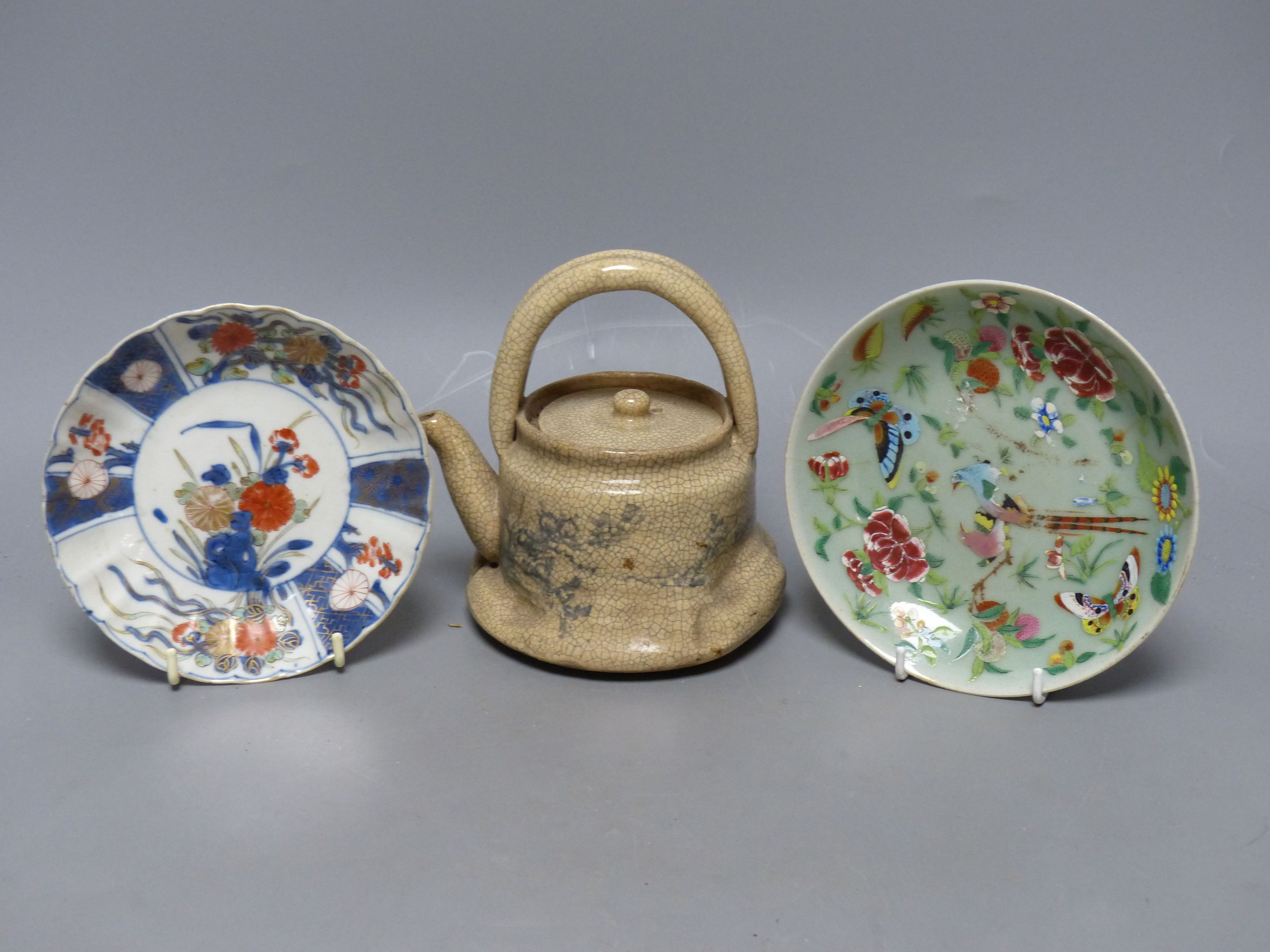 Chinese Imari pattern dishes, two others, a teapot, height 15cm, and a pottery bowl - Bild 3 aus 5