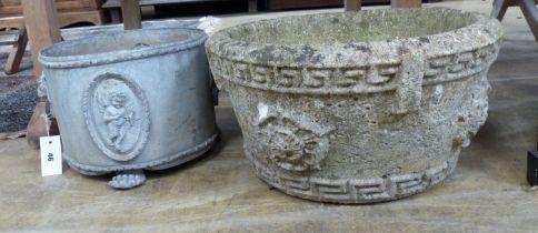 An Edwardian lead garden urn, diameter 33cm and a later composition planter, diameter 44cm