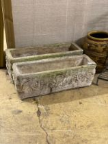 A pair of reconstituted stone garden troughs, width 74cm